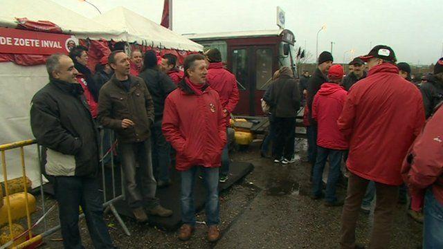 Striking car workers in Belgium