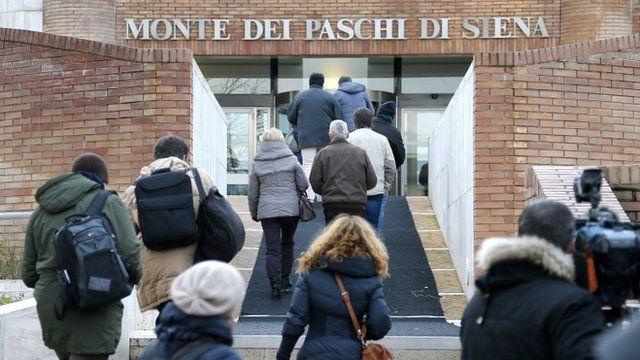 Main entrance of the Banca Monte dei Paschi di Sienna