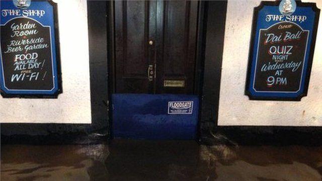 A pub flooded at Solva, Pembrokeshire