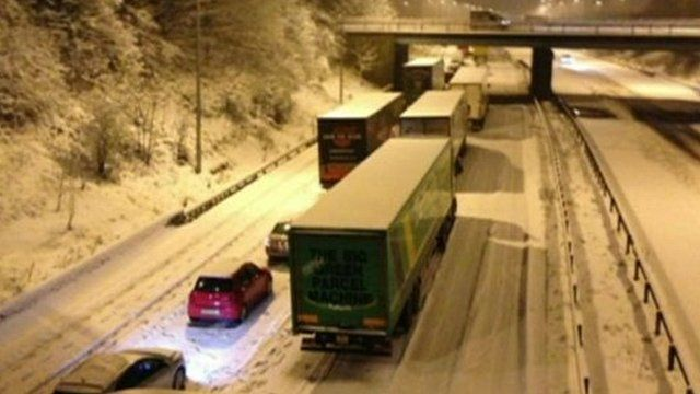 Traffic was brought to a standstill by snow on the M6 motorway