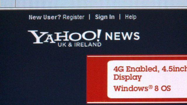 Yahoo webpage
