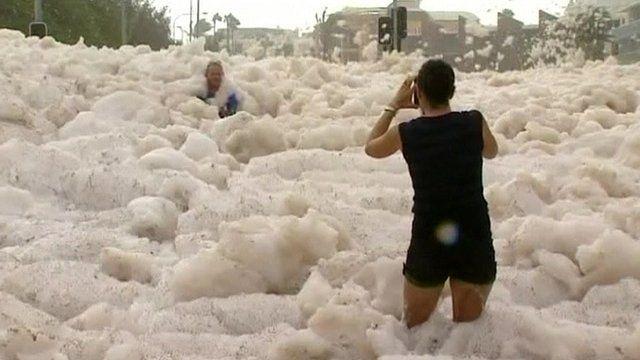 Australians in the sea foam