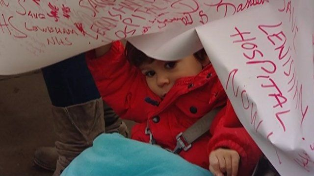 A child at a Lewisham Hospital protest
