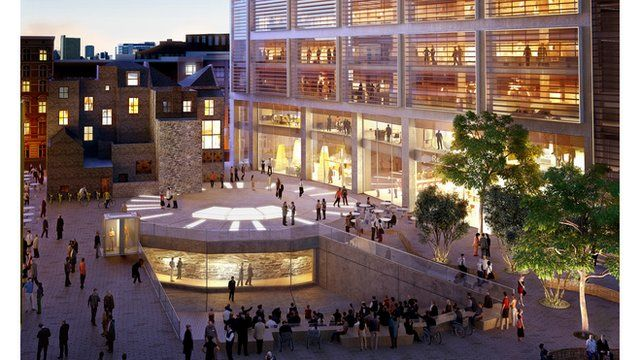 An image of the proposal for the site of Shakespeare's Curtain Theatre in Shoreditch