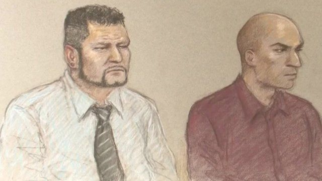 Court drawing of Jason Richards and Ben Hope