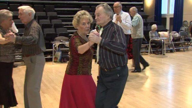 Woman and man dancing