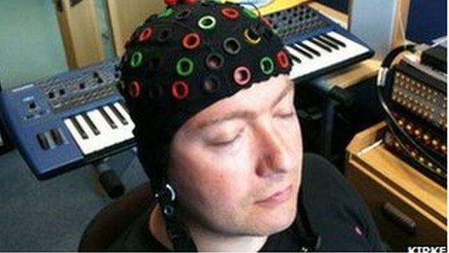 Alexis Kirke wears brain wave monitoring cap