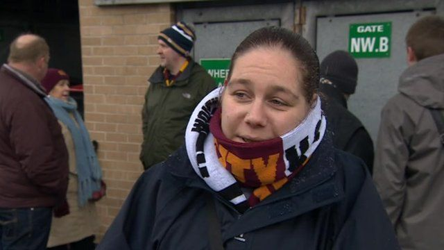 Bradford City fans outside Valley Parade
