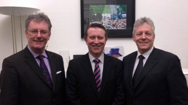 Mike Nesbitt, Nigel Lutton and Peter Robinson