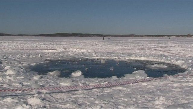 Hole in ice thought to be caused by the meteorite strike