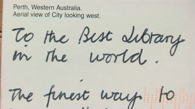 A postcard sent to Mold Library