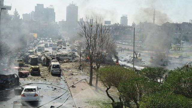 Damascus explosion aftermath