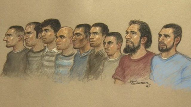 Court drawing of the nine men on trial at the Old Bailey
