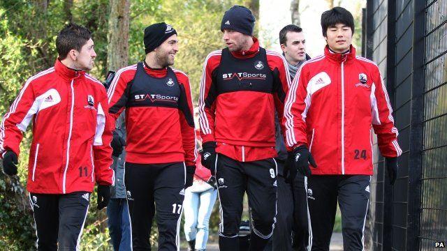 Pablo Hernandez, Itay Shechter, Michu and Ki Sung-Yong during at the Liberty Stadium, Swansea