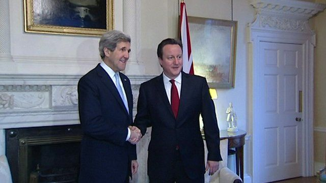 John Kerry shakes hands with David Cameron