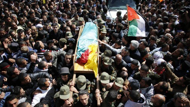 Palestinians carry the body of Arafat Jaradat during his funeral in the West Bank village of Saeer, near Hebron