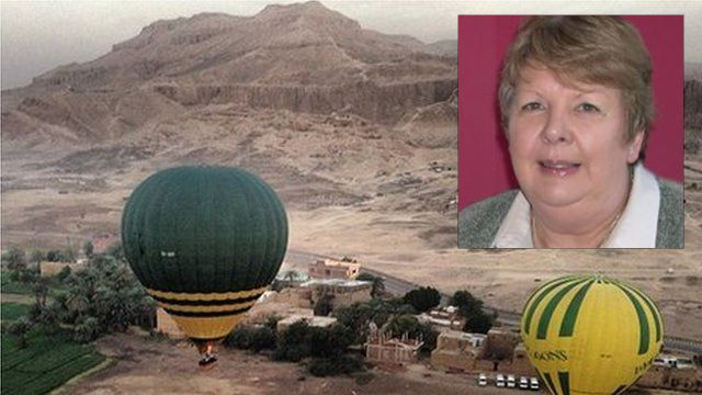 Hot air balloons in Luxor with Linda Lea (inset)