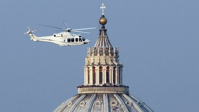 Pope in helicopter