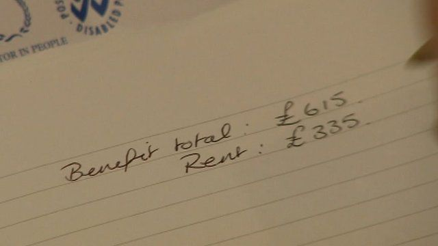 Notebook showing benefits and rent totals