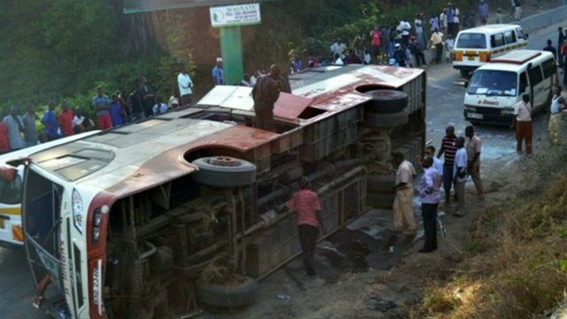 Overturned coach