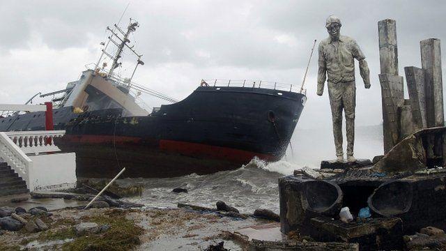cargo ship stranded on the shore of Colon