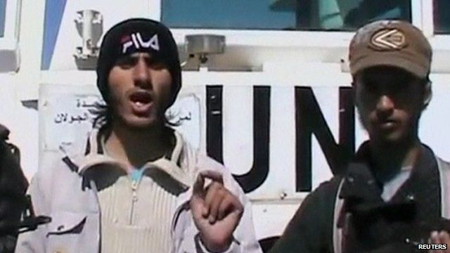 Screenshot from video purportedly showing rebels with a UN-marked vehicle