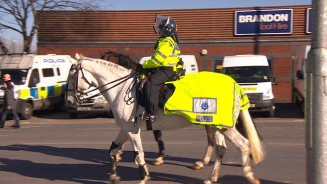 Police horses at Elland Road