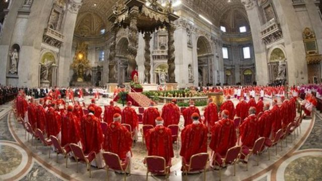 Cardinals attend mass during the conclave