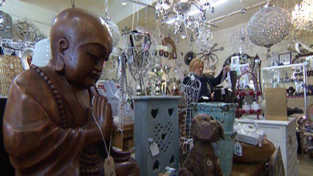 Inside view of Marcia Hallett's antique shop