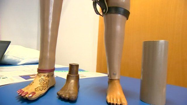 Artificial legs made from drainpipe