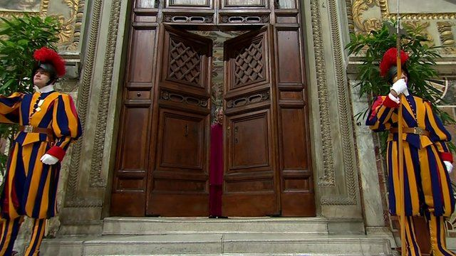 The doors of the Sistine Chapel being locked