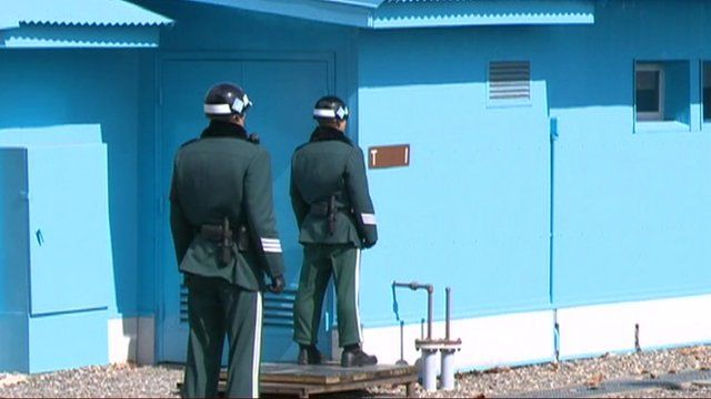 Officers at the border between North and South Korea