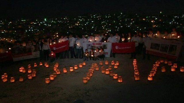 Lanterns spelling Syria
