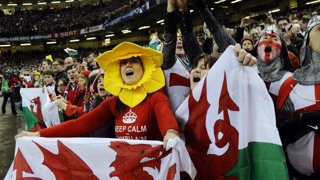 Wales fans at the Millennium Stadium