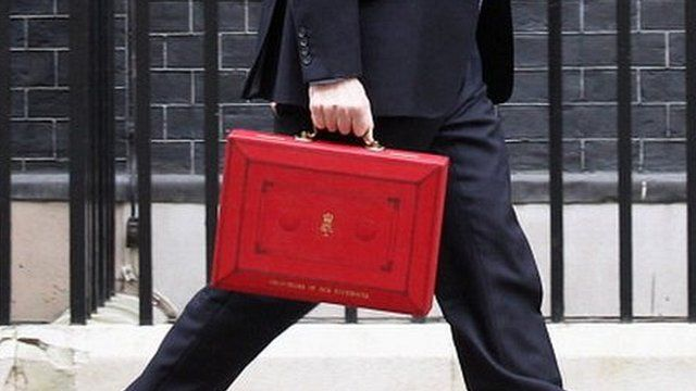 George Osborne with the red box, Budget 2012
