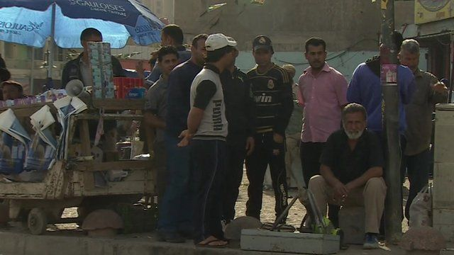 A group of unemployed men in Iraq