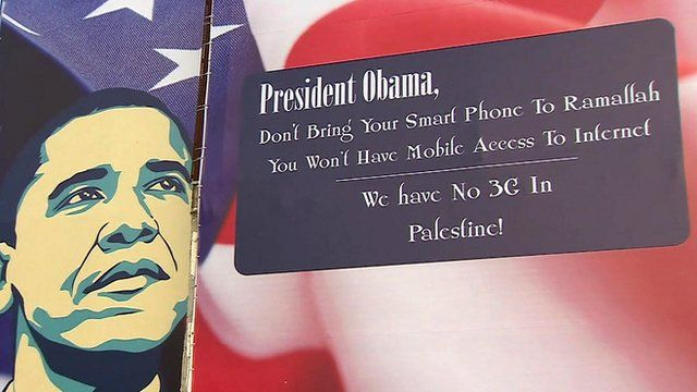 Poster in Ramallah of US President Barack Obama
