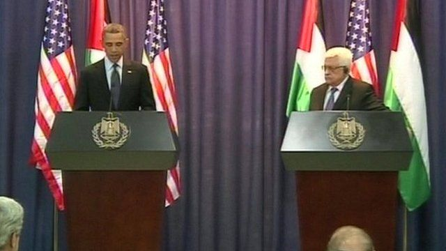 Obama and Abbas during joint news conference