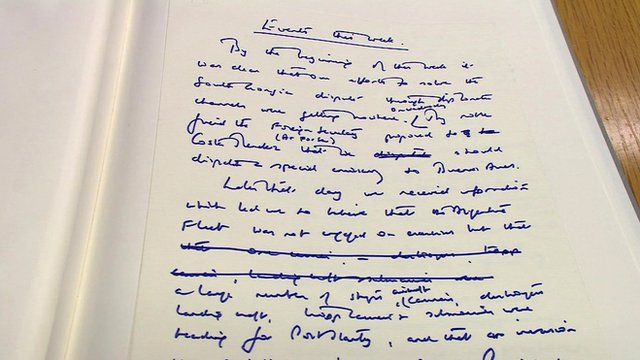 Detail from Margaret Thatcher's newly-published papers