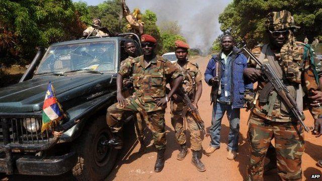 Seleka rebels in village outside town of Damara - 10 January