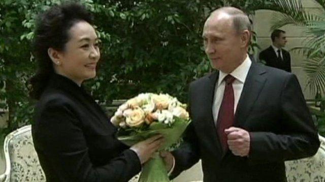 China's First Lady Peng Liyuan and Russia's President Putin