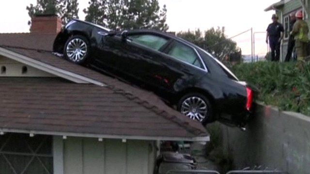 Car on a roof, Glendale, California