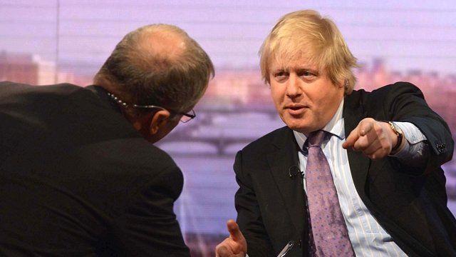 London mayor Boris Johnson interviewed by BBC presenter Eddie Mair