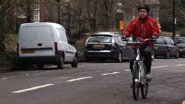 Duncan Walker tests out an electric bike