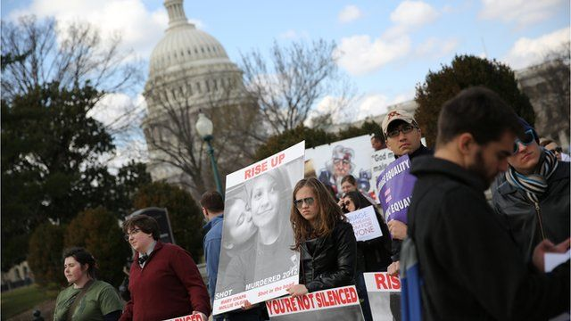 Same-sex marriage supporters outside US Supreme Court