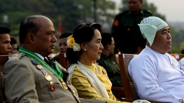 Aung San Suu Kyi, and Deputy Border Affairs Minister Maj. Gen. Zaw Win