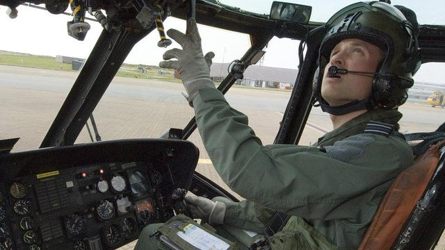 Prince William at helicopter controls, RAF Valley