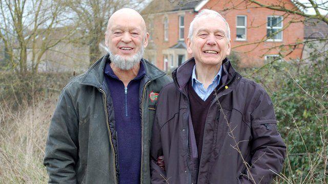 Glastonbury festival founder Michael Eavis and John Humphrys