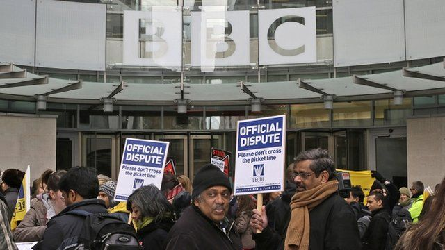 BBC staff outside New Broadcasting House in London