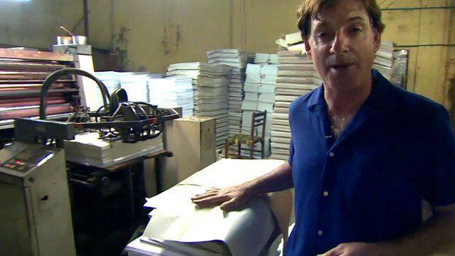 Jonathan Head at a printing press in Rangoon